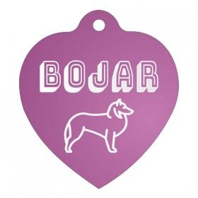 Růžový přívěsek na psí obojek s gravírováním jména, adresy a telefonu vyrytým dle vašeho návrhu