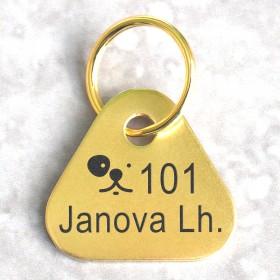 Registrační známky pro psa pro obec a město s gravírováním evidenčního čísla a názvu obce