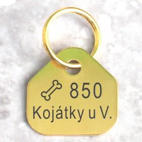 Mosazné registrační psí známky pro města a obce s rytím textu, symbolu a názvu obce