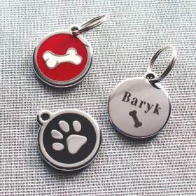 Identifkační psí známky Red Dingo s gravírováním jména, telefonu a adresy