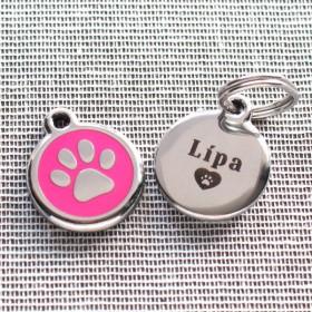 Identifikační známky Red Dingo 20 mm pro nejmenší psy s gravírováním jména a telefonu