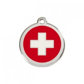 Známka na psí obojek s gravírováním textu Red Dingo - červený kříž