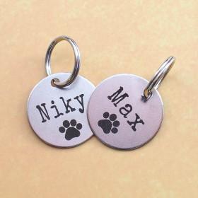 Ocelové kulaté známky pro psa s gravírováním jména a identifikačních údajů