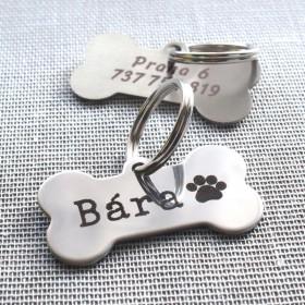 Nerezová psí známka pro velkého psa ve tvaru kostičky s gravírováním identifikačních údajů dle Vašeho přání.