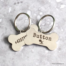 Nerezové známky pro pmalé psy s gravírováním jména, telefonu a adresy