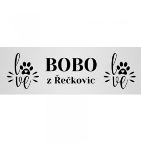 Originální jmenovka na psí boudu s gravíováním jména psa a obrázků dle Vašeho návrhu na stránce produktu