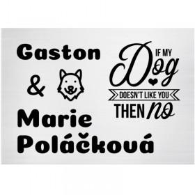 Stříbrná jmenovka na vchodové dveře a psí boudu se jménem a grafikou na míru, kterou si jednoduše vytvoříte na eshopu petway.cz