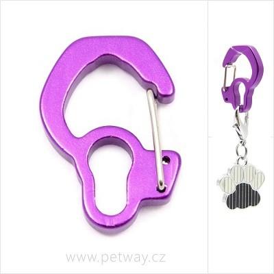 Karabinka na psí známku - fialová; 18 x 27 mm